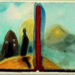 """Mimmo Paladino Mezzo della citta lontana con le mura di nero fumo, 1983 aus dem Zyklus""""Cento Giornate per Salisburgo""""Aquarell und Pastell auf Papier33 x 52 cm Inv. 436Foto: Kathleen Mengede-Klüß, Mühlheim"""