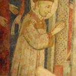 Santuario Francescno di Greccio, Cappella del Presepio, particolare di San Francesco in adorazione del Bambino