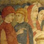 Santuario Francescano di Greccio, Cappella del Presepio, particolare con Giovanni Velita , Signore di Greccio e sua moglie Alticama Castelli di Stroncone