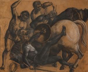Cartoni disegni smisurati del 900 italiano mostra bologna Achille Funi Battaglia